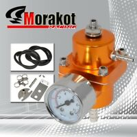 Auto Adjustable Fuel Pressure Regulator Kit+Gas Hose + PSI Gauge Gold