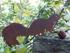 Edelrost Eichhörnchen zum einschlagen in Weichholz Dekoration Garten Skulptur