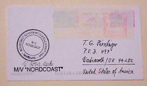BELGIUM  METER COVERS SOUTH AFRICA STAMPS 2001 ANTWERPT AUTOGRAPH SHIP MASTER