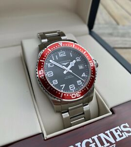 Longines HydroConquest Automatic Dive Watch 39mm Red Bezel | Box & Papers