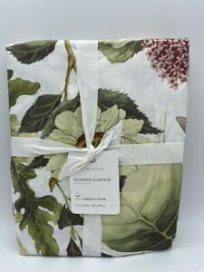 New Pottery Barn Thistle Floral Organic Shower Curtain