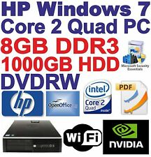 Windows 7 HP 8000 Core 2 QUAD Gaming PC Computer - 8gb ddr3 - 1000gb HDD-HDMI