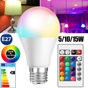 LED E27 RGB Glühbirne Farbwechsel Glühlampe Birne Licht mit Fernbedienung 15W