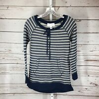 French Laundry womens long sleeve striped shirt size small Blue stripe