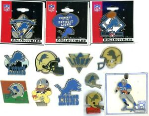 Lions Vintage Pin Choice 13 Pins Some new on card Detroit NFL Barry Sanders coke