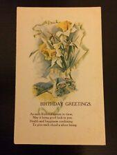 "Vintage greeting card postcard unused original ""Birthday Greetings"" Birthday"