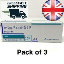 3 PACK Benzoyl Peroxide Gel IP 2.5% Acne Blackhead Spot Benzac Galderma 20g