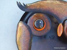 "Large 24"" Dramatic Owl Face Metal Art 3D Wall, Hearth, Patio Hanging Sculpture"