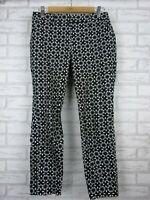 Jacqui E pants black white print three quarter length size 8