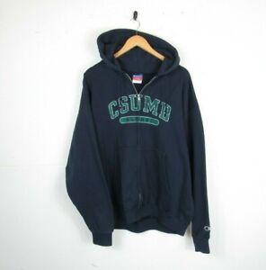 VTG Champion Blue Full Zip Retro American Graphic Hoodie Sweatshirt 90s Size XL
