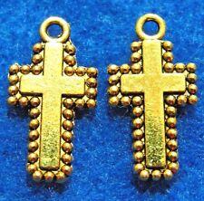 50Pcs. WHOLESALE Tibetan Antique Gold Beaded 2-Sided CROSS Charms Pendants Q0628