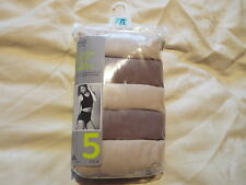 M&S 5 Pack Full Briefs Knickers Sizes UK 26 Cotton Lycra 'Almond Mix' BNWT