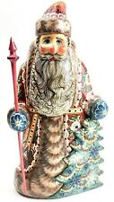 """9.5"""" RUSSIAN SANTA Wooden Signed Carved Hand Painted"""