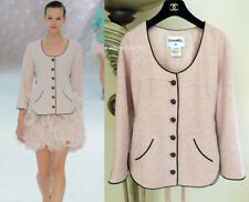 $3455 CHANEL 12P PINK PEARL CC BUTTONS RUNWAY BELTED TWEED JACKET 48