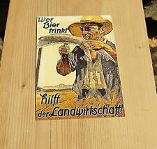 Postkarte wer Bier trinkt- hilft der Landwirtschaft Geschenk O86