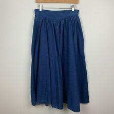 """VTG 80s Denim Western Skirt Full Circle Tem Tex Women's Blue Cowgirl 31"""" Waist"""