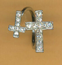 "Ring double cross 5/8"" & 1"" crosses crystal clear Rhinestones adjustable New"