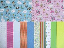 "12 sheets 6x6"" Whiz Kids Scrapbook backing Papers - girl & boy"