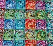"Glass Mosaic Tiles - Van Gogh Swirls Blue Orange Green Blue Pink 1"" Squares"