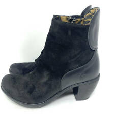 New~FLY London Leather Wedge Boots~Yado~Black 38 ~ 7.5 8
