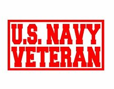 """US NAVY VETERAN VINYL DECAL RED 4x9"""" MILITARY USA VET ARMED FORCES UNITED STATES"""
