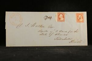 Florida: Marianna 1852 #10 Legal Size Cover, #11 to Pay Postage Due