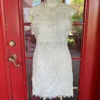 Sans Souci Women's Dress Size Small Off White Round Neck Sleeveless Lace wedding