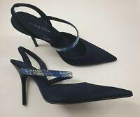 Roland Cartier size 6 (39) blue faux leather satin diamante slingback stilettos