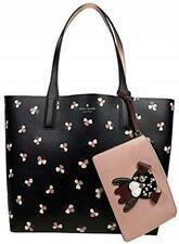 Kate Spade Black Multi Floral Pup/ Reversible Pink Tote W/Pouch (WKRU6238)