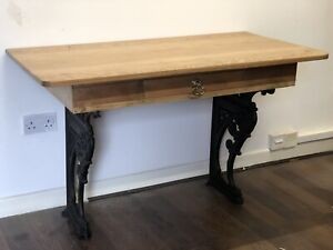 Victorian Pine Desk On Cast Iron Base With A Drawer.