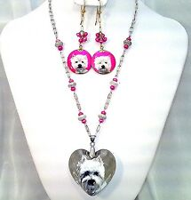HANDMADE & Hand painted West Highland Terrier on Heart & shell pearl earrings