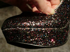 Stunning multicolour glitter platform shoes with silver stiletto heel size 6