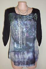 Avella Plus Size 18 Digital Forest Print Top 3/4 Sleeves Blue Black