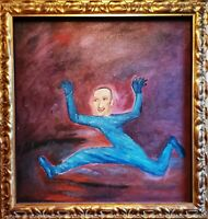 Russian School, American USA, Portrait of a Running Man Antique Oil Painting