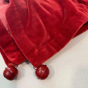 Pottery Barn Sleigh Bell Velvet Table Runner Christmas Holiday Decor Red NWT