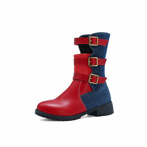Casual Round Toe Colorblock Mid Boots Punk Strap Buckle Faux Leather Women Shoes