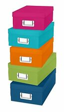 5 Colors Storage Organizer Boxes Container Plastic Case Paper Stationery Tools