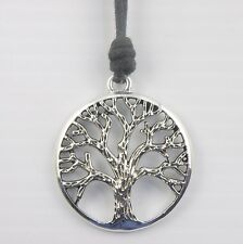 Silver Tone Carved Tree of Life Pendant on a Waxed Cotton Cord Surfer Necklace