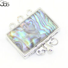 Jewelry DIY Findings Natural MOP Abalone Shell Square Box Clasp 3-strand 18x25mm