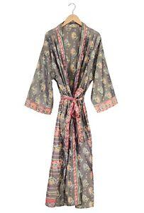 Pure Silk Sari Caftan Robe Patchwork Vintage Silk Sari Kimono Floral Print Silk Night Wear Gown Women/'s Soft Bath Robe Long Beach Wear Dress