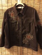 Brown Floral Embroidered Jacket Size 18W Pockets Alfred Dunner Flowers