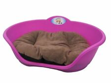 Heavy Duty FUCHSIA PINK Pet Bed With BROWN Cushion UK MADE Dog Or Cat Basket