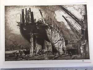 1920s fine art print Breaking up the Duncan by Frank Brangwyn