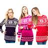 Women Christmas Jumper Knitted Fairisle Snowflake Retro Xmas Tunic Sweater