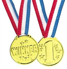 #1 Gold Medals Dozen Winner Red White Blue Ribbon Reward Party Favors