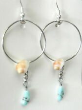 Hawaiian Small Shells & Blue Coral in Large Hoop Dangle Silver Plated Earrings