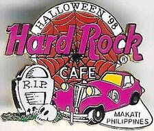 Hard Rock Cafe MAKATI PHILIPPINES 1998 HALLOWEEN PIN Web Pink Car RIP Headstone