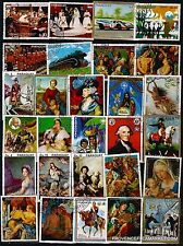 BL40 PARAGUAY 28 stamps grand format obliterated;Paintings,landscapes,figures