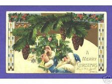 HTL 15  Hold To Light Santa postcard, Blue Suit