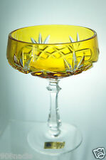 Echt Bleikristall German Amber/Yellow Cut to Clear Crystal Wine/Champagne Glass